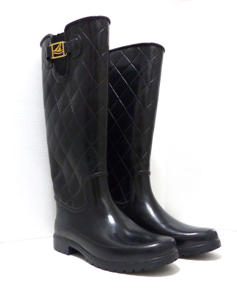 b51a177c301 Womens Sperry Top-Sider Pelican Tall Black Quilted Rain Boots 6M ...
