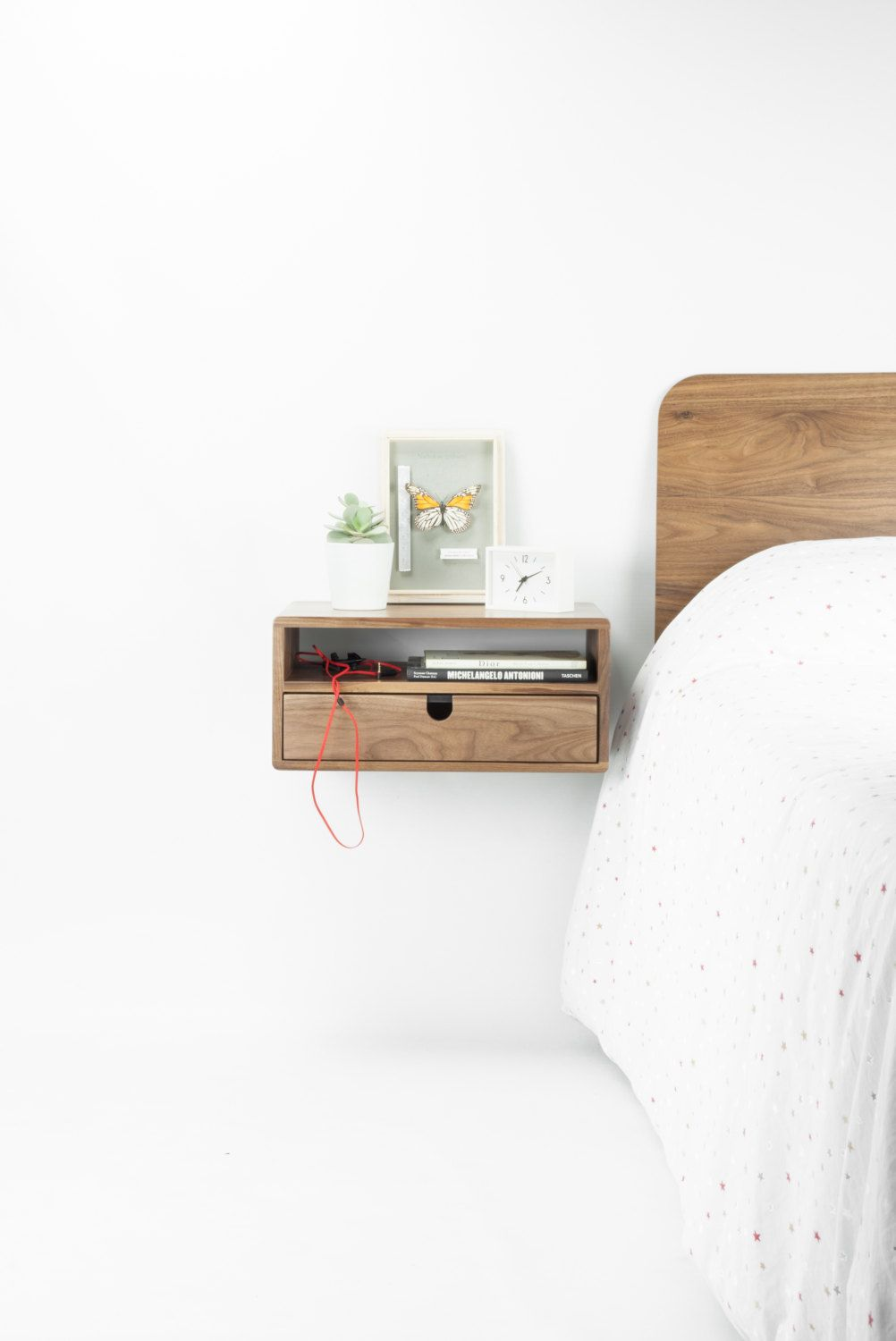 Walnut Floating nightstand bedside table drawer in solid ...