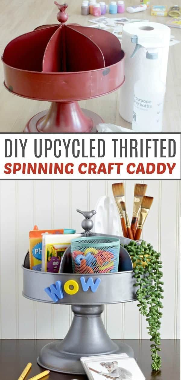 Gorgeous thrift store flip to make a spinning craft caddy Great way to organize crafts I am going to save this in case I need to know how to spray p  Thrift Flipping