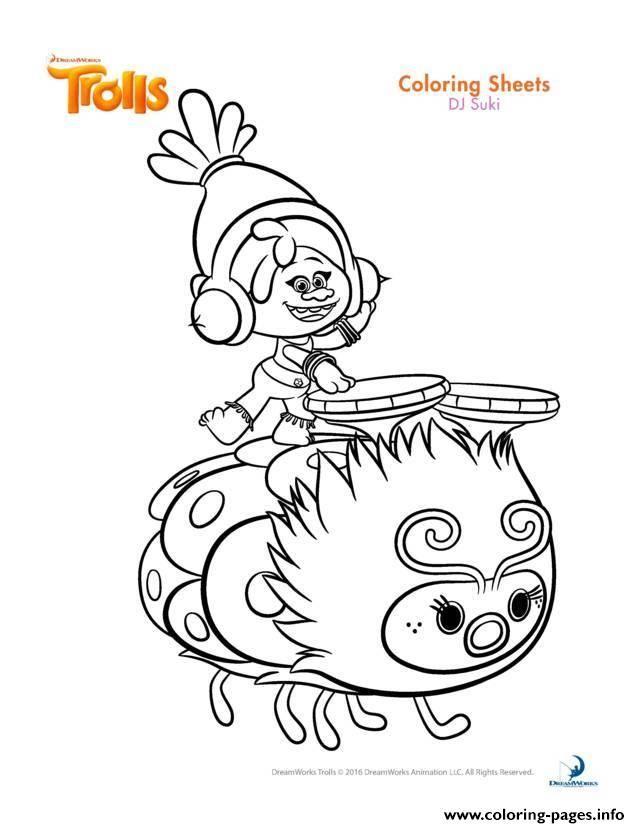 Print Dj Suki Trolls Coloring Pages