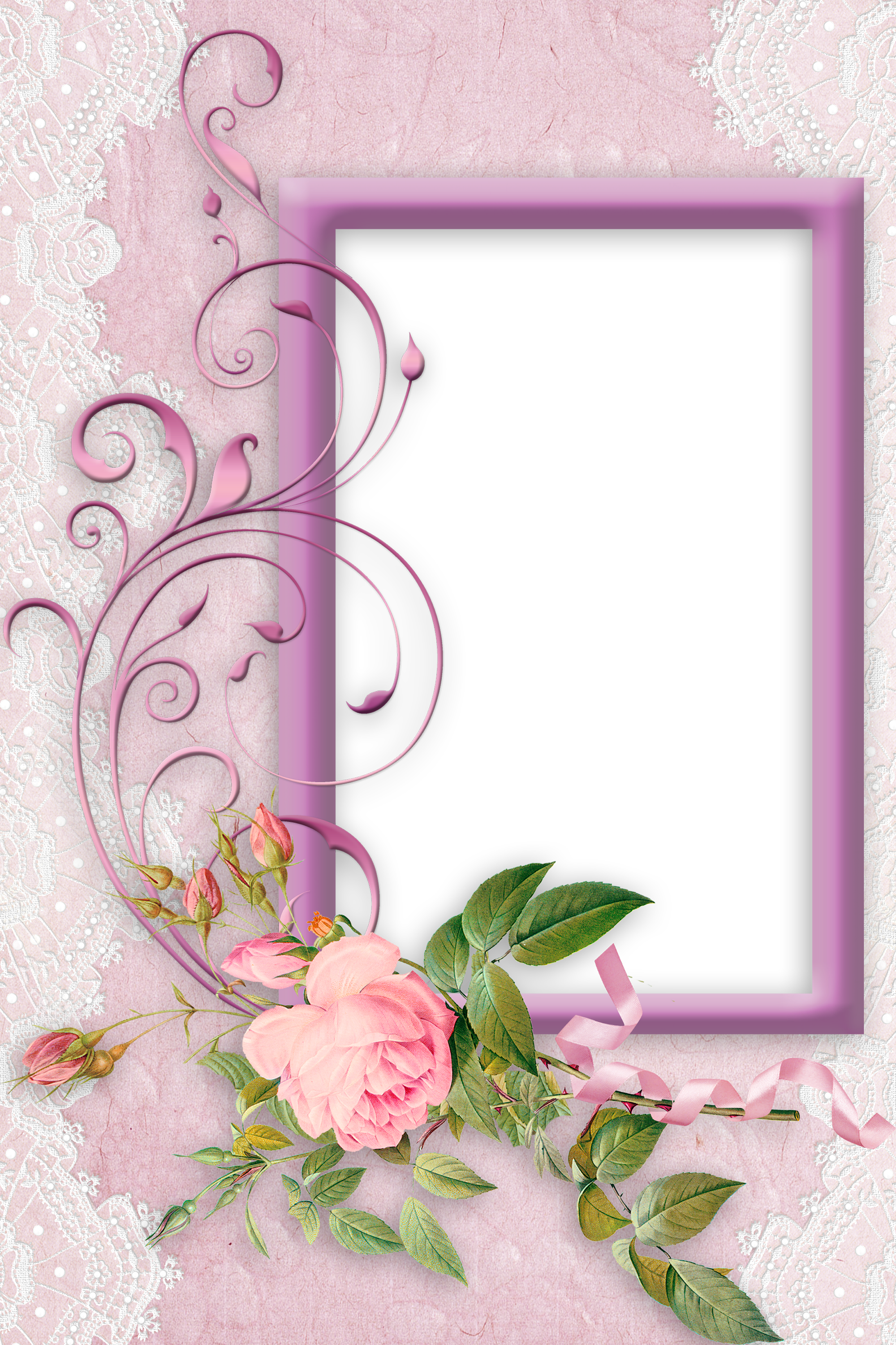 Nice Pink Png Frame With Rose Flower Frame Boarders And