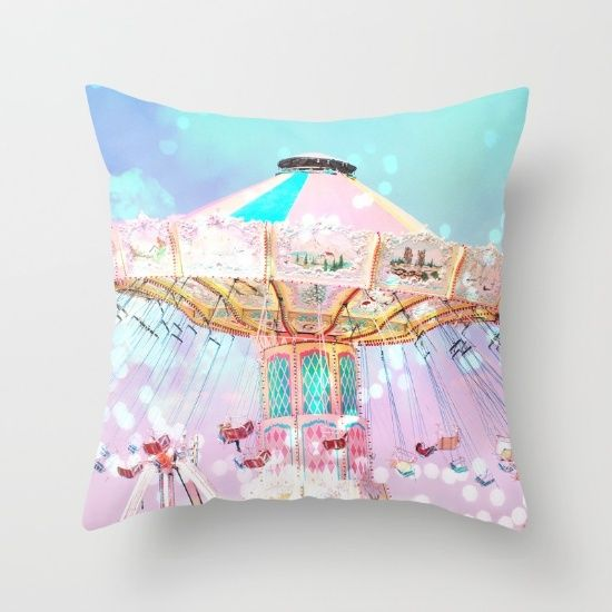 "Carnival Ferris Wheel by Kathy Fornal  DESCRIPTION Throw Pillow Cover made from 100% spun polyester poplin fabric, a stylish statement that will liven up any room. Individually cut and sewn by hand, the pillow cover measures 16"" x 16"", features a double-sided print and is finished with a concealed zipper for ease of care. Does not include pillow insert."