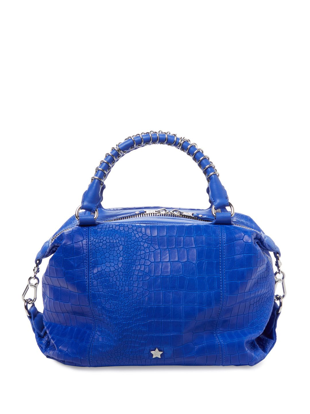Sasha Croc Embossed Leather Satchel by Ash at Gilt