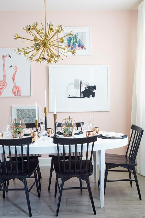 Gracespain Pink Dining Rooms Dining Room Small Small Dining Room Decor #peach #walls #living #room
