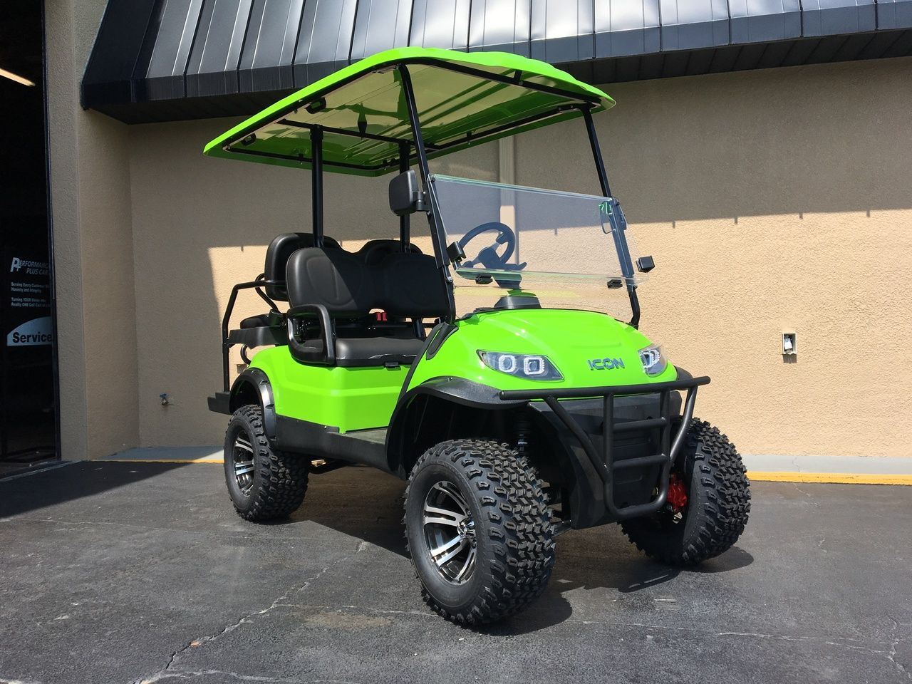 Icon I40l 4 Passenger Lifted Lime Green Golf Cart In 2020 Golf Carts Club Car Golf Cart Golf