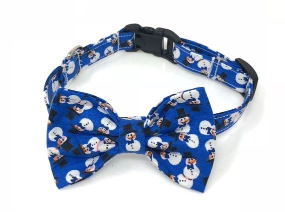 Blue Snowman Christmas Holiday Bow Ties and Collars for Dogs, Free ship in USA. #pictureplacemeant