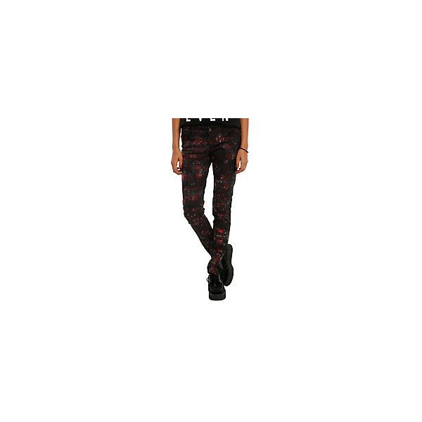 Royal Bones By Tripp Red Tartan Skinny Jeans | Hot Topic ($13) ❤ liked on Polyvore