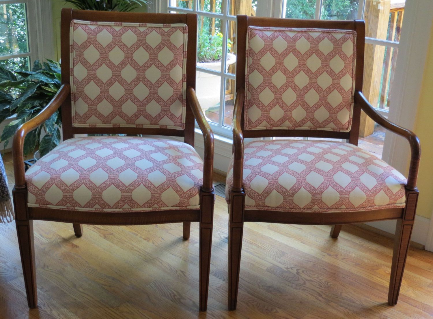 Pair Of Coral Patterned Accent Chairs Totally Refurbished By