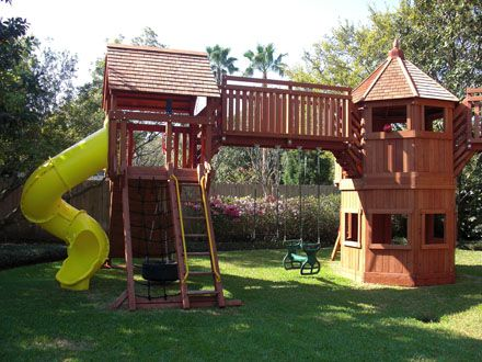 Offering Custom Redwood And Cedar Playsets And Swing Sets Custom Playset Fort Design In Houston Columbus Round Top A Cozy Backyard Backyard Playset Outdoor