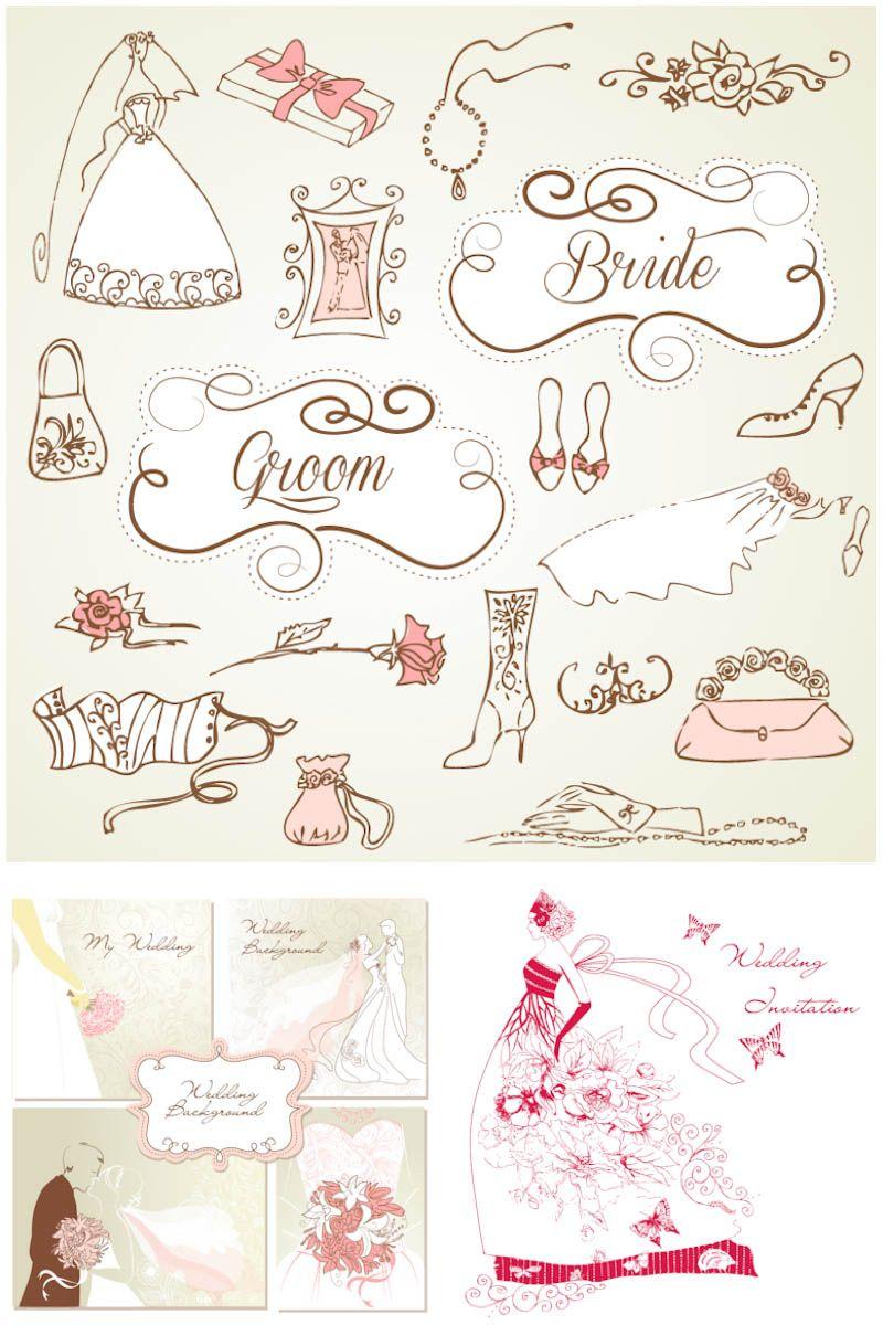 3 sets of vector decorative wedding design elements with vintage 3 sets of vector decorative wedding design elements with vintage wedding invitation cards bride illustrations stopboris Choice Image