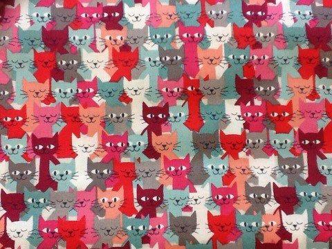 Makower cat crowd craft fabric Fat Quarter by holmfirthfabric
