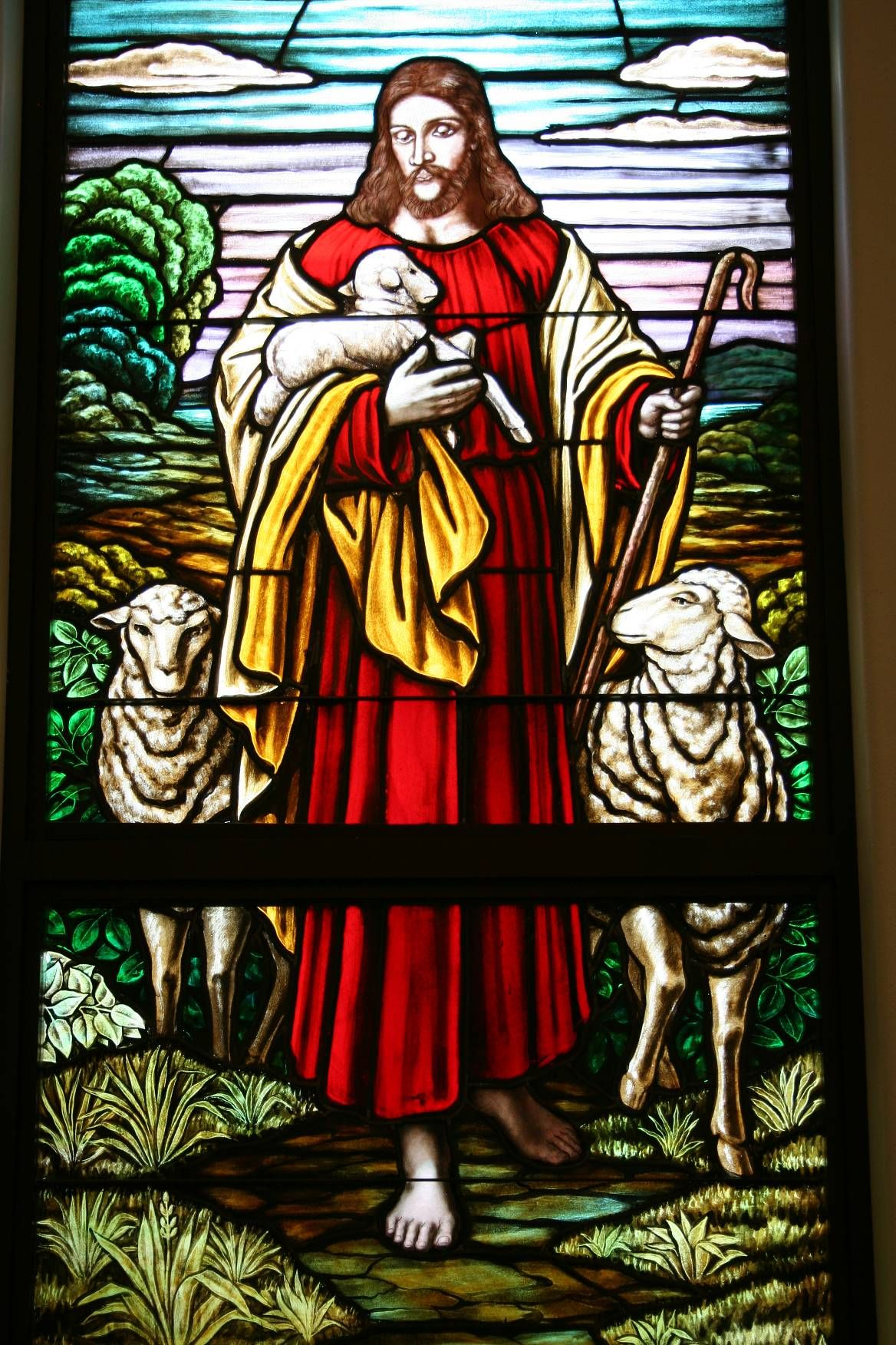 religious stained glass windows the good shepherd jesus