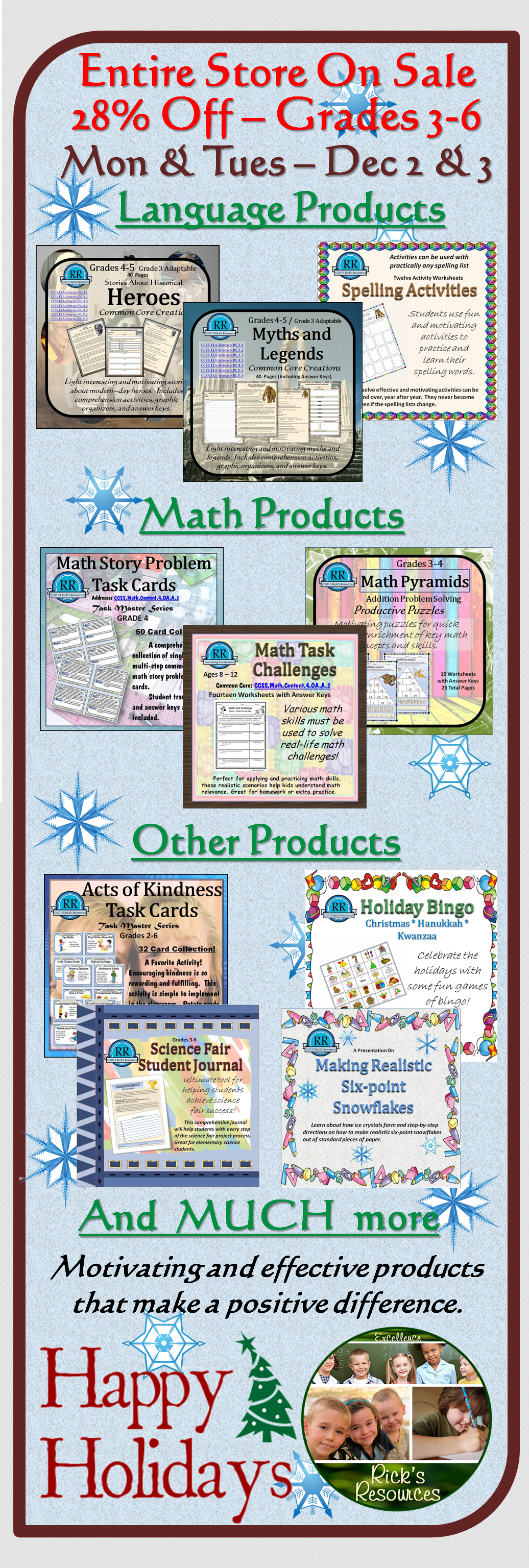 Happy Holidays! All of my materials - math, language, science - are ...