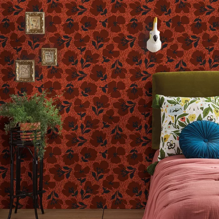 Retro Floral Peel Stick Wallpaper Red Opalhouse Peel And Stick Wallpaper Retro Floral Wallpaper