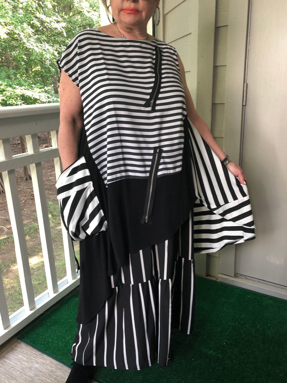 Lagenlook Bohemian Upcycled Polka Dots Maxi Dress
