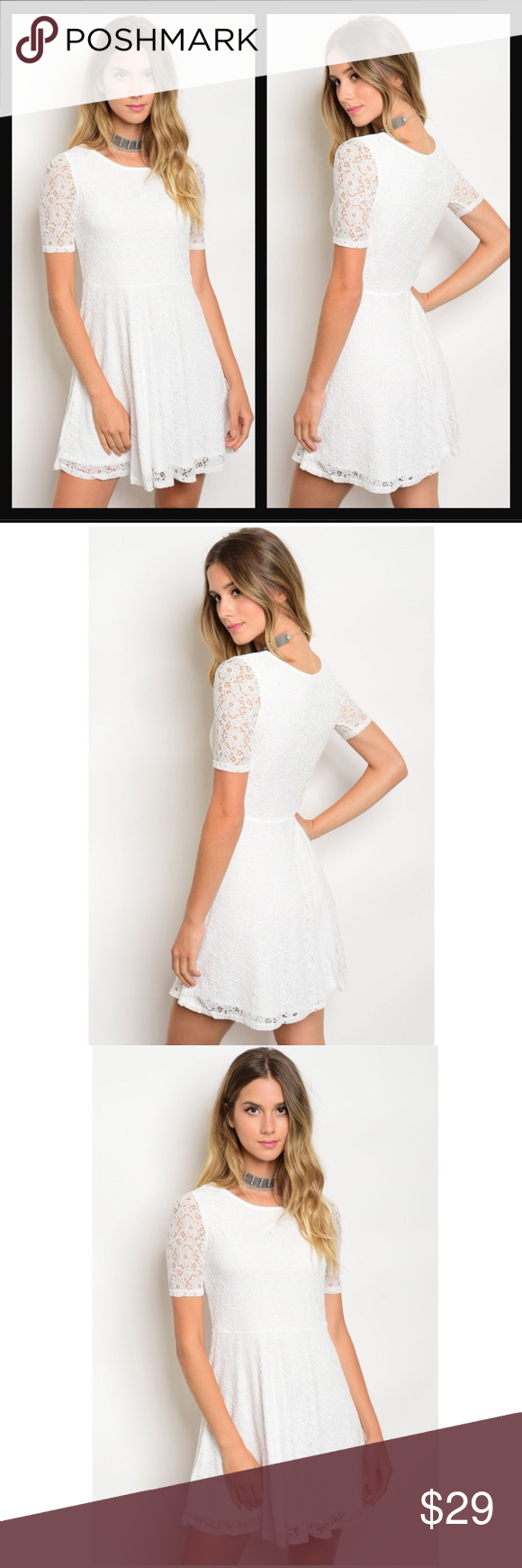 White Lace Crochet Skater Dress Boutique (With images