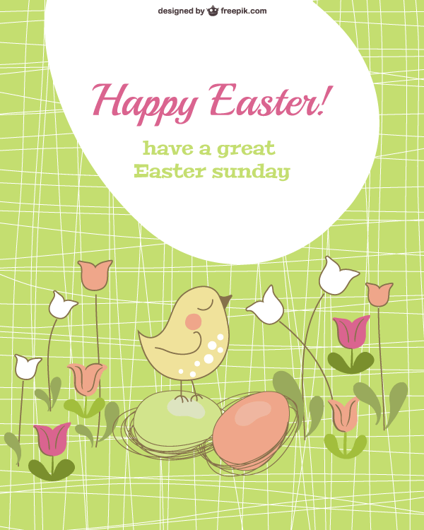 vector easter card template with chick and eggs free vectors