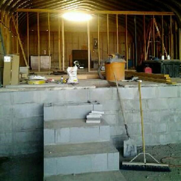 Stairs And Block Wall To Mid Level Kitchen/master Suite, Cinder Block  Construction W