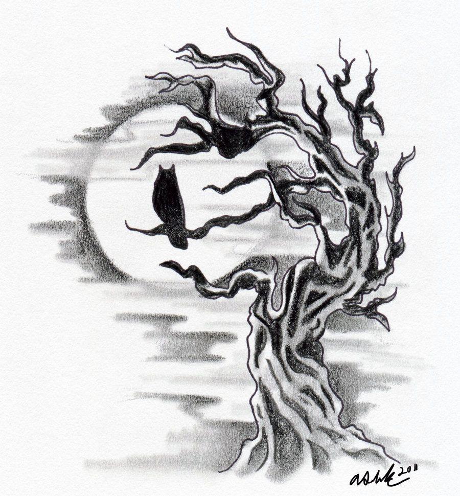 Owl Silhouette with Tree by LittleDarkChild.deviantart.com ...
