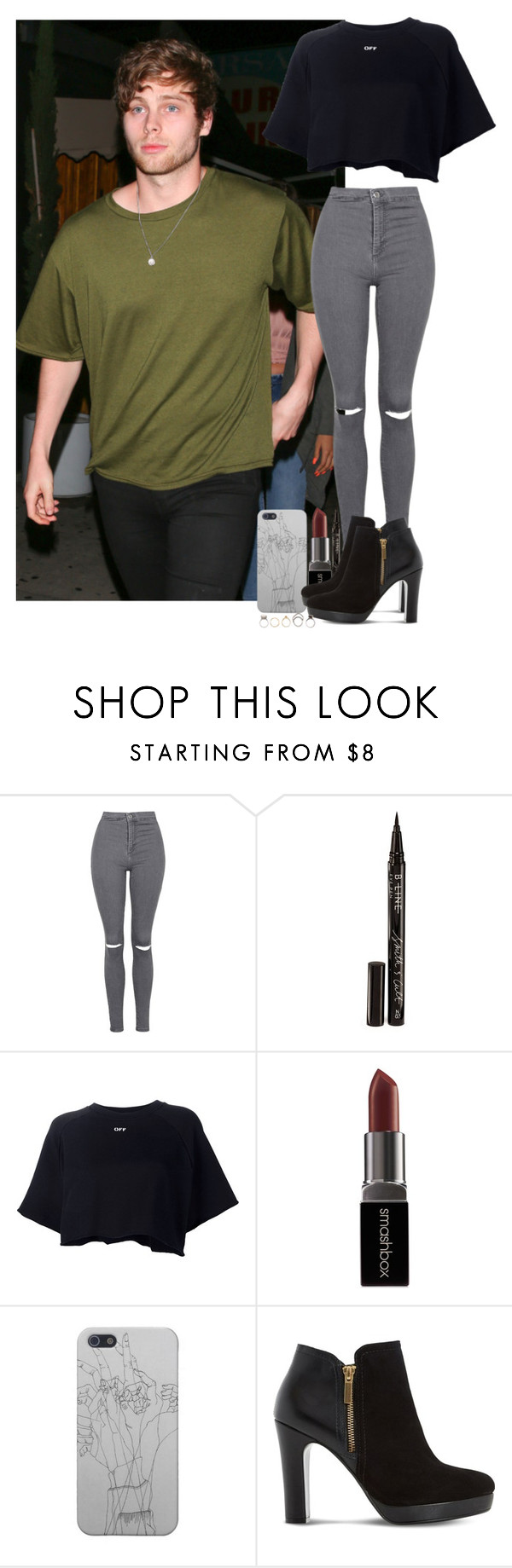 """Night out with Luke"" by ziampornm ❤ liked on Polyvore featuring Topshop, Smith & Cult, Off-White, Smashbox, Dune and Iosselliani"