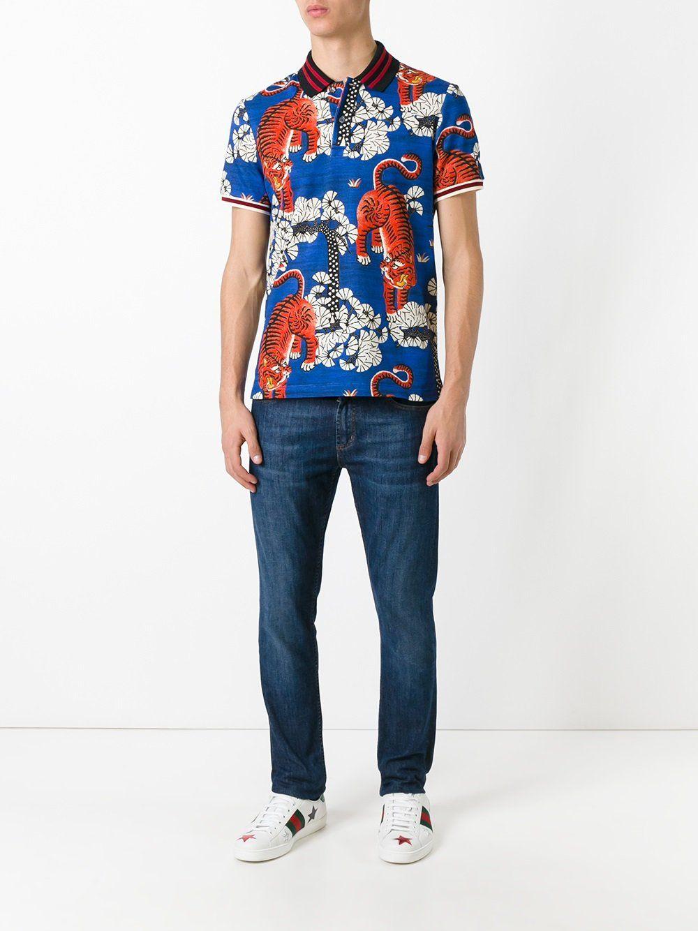 Camisas De Verano. Zapatillas. Pantalones. Gucci polo con estampado de  tigres de Bengala Polos Con Estampados 55e5768edc1f7