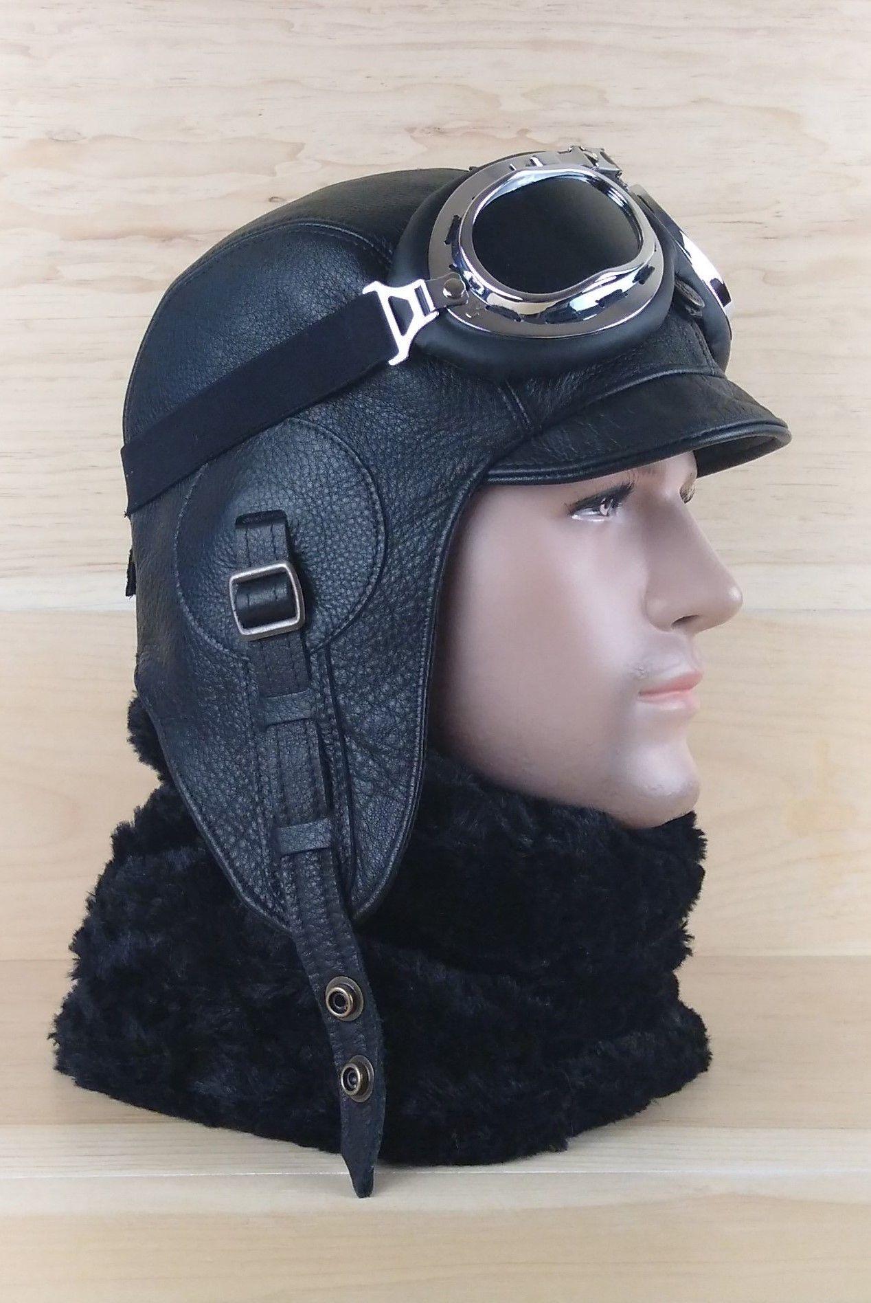 Leather Aviator Hat Motorcycle Helmet Pilot Cap Military Etsy Hats For Men Aviator Hat Leather Motorcycle Helmet
