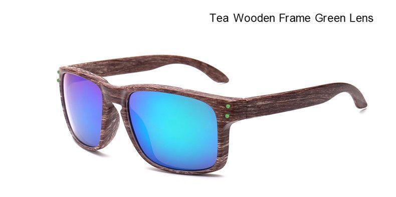 Wooden Texture Sunglasses - Tea Frame Green Lens