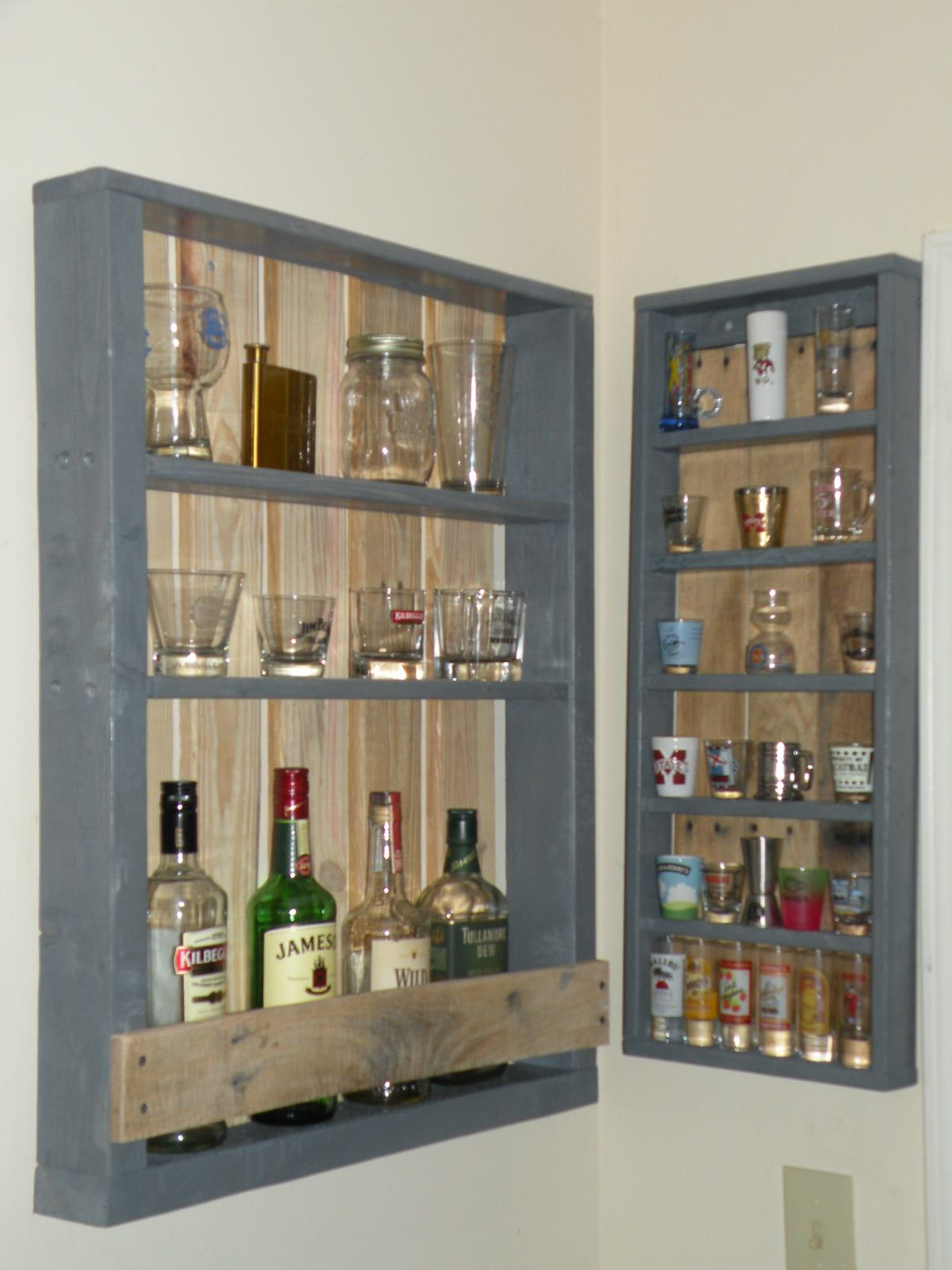 wall bar and shot glass displays in