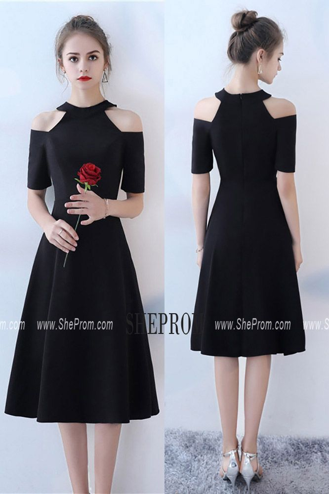 6a7afb318e Tea Length Black Party Dress Halter with Sleeves BLS86065 at  SheProm. Shop  thousands of