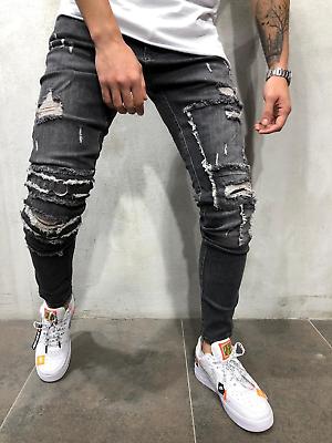 Jeans De Moda 2020 Para Hombre Pantalones De Mezclilla Calcas Masculinas Jeans Ebay Mens Street Style Repair Jeans Sneakers Men Fashion