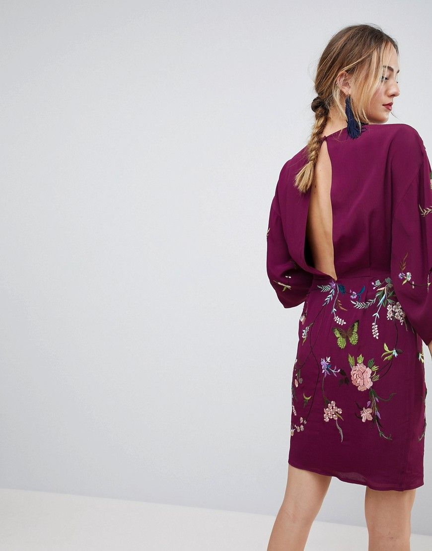 128f52139acac TALL Kimono Mini Dress with Embroidery | Products | Tall dresses ...