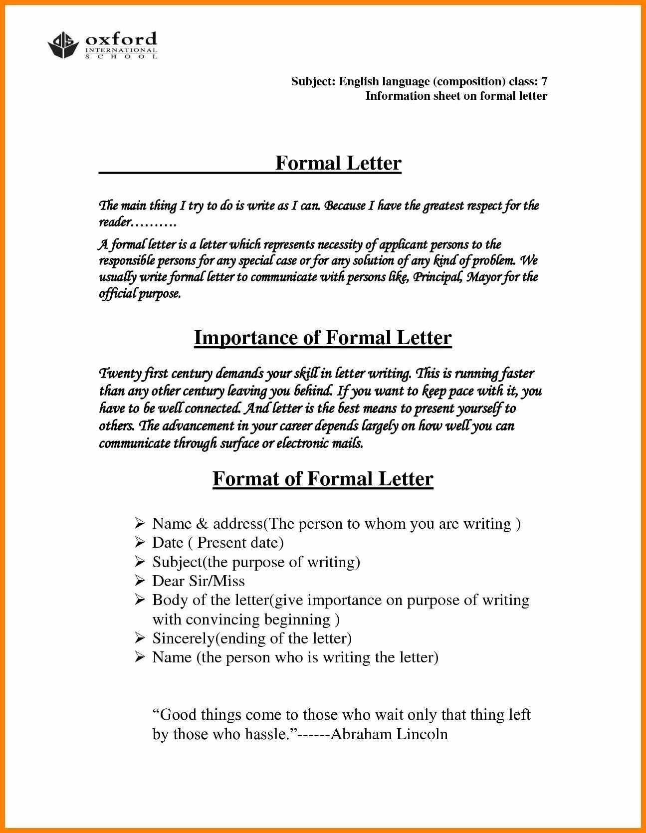 You Can See This New formal Letter format According to