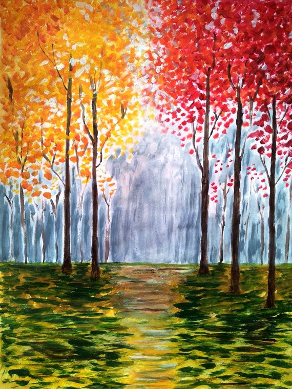 I like the colors on this one.   Autumn Trees oil painting