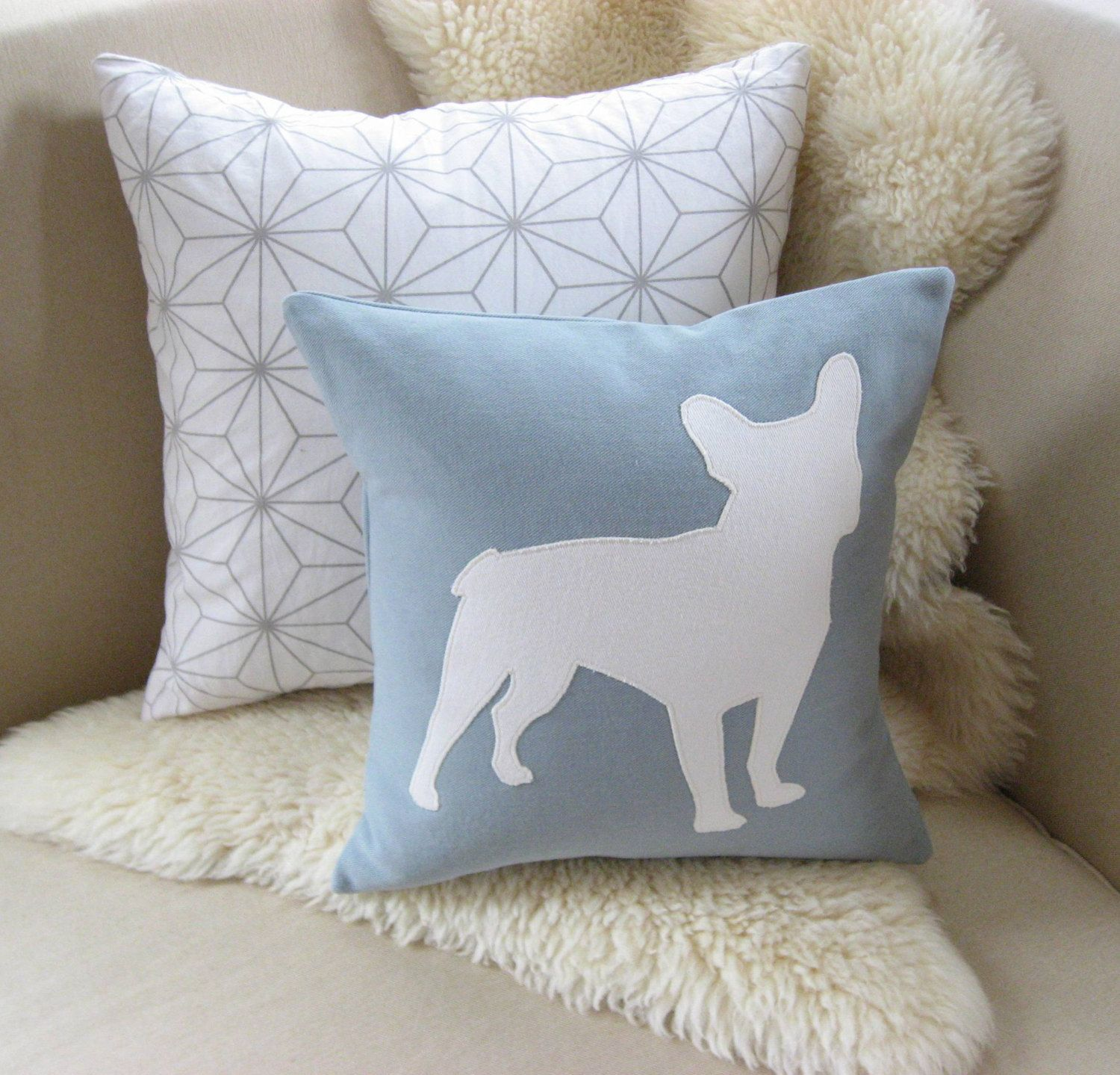 French Bulldog Pillow Cover Modern Spa Blue & Warm by