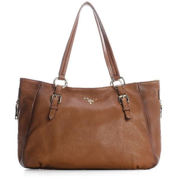 f26db5c7c20b Prada BD1548 Women Leather Shoulder Bags in Yellowish Brown - pradafire.com