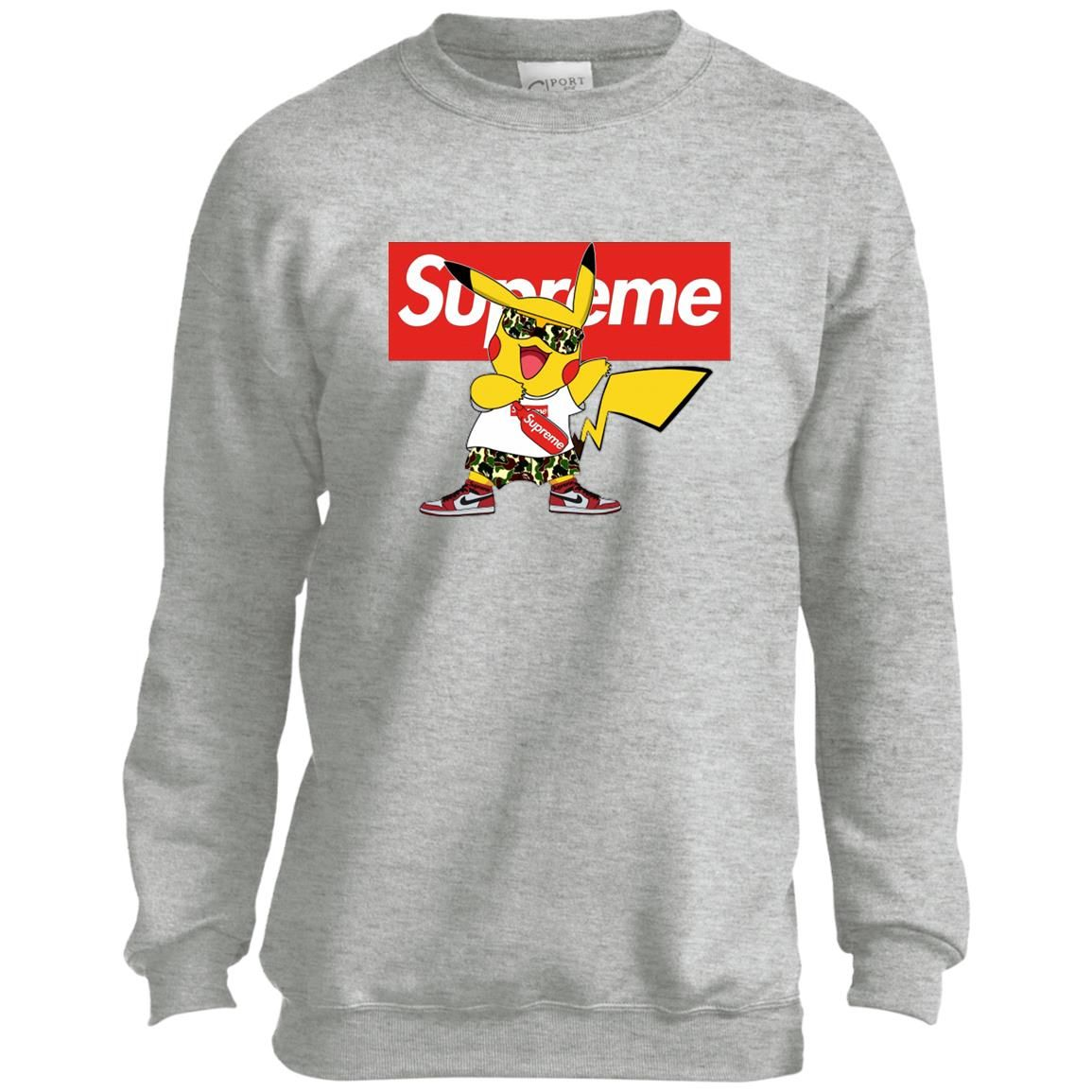 Pikachu Supreme Youth Kids Sweatshirt | Sweatshirts, Youth