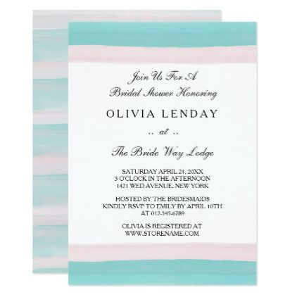 Shop Brushed Gemstone Blue Pink Bridal Shower Invite Created By Thank You Always Personalize It With Photos Text Or Purchase As Is
