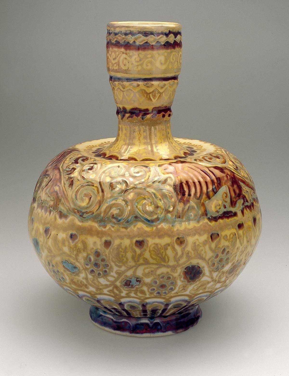 Bolvormige fles decoratie met leeuwen florale en for Decoratie fles