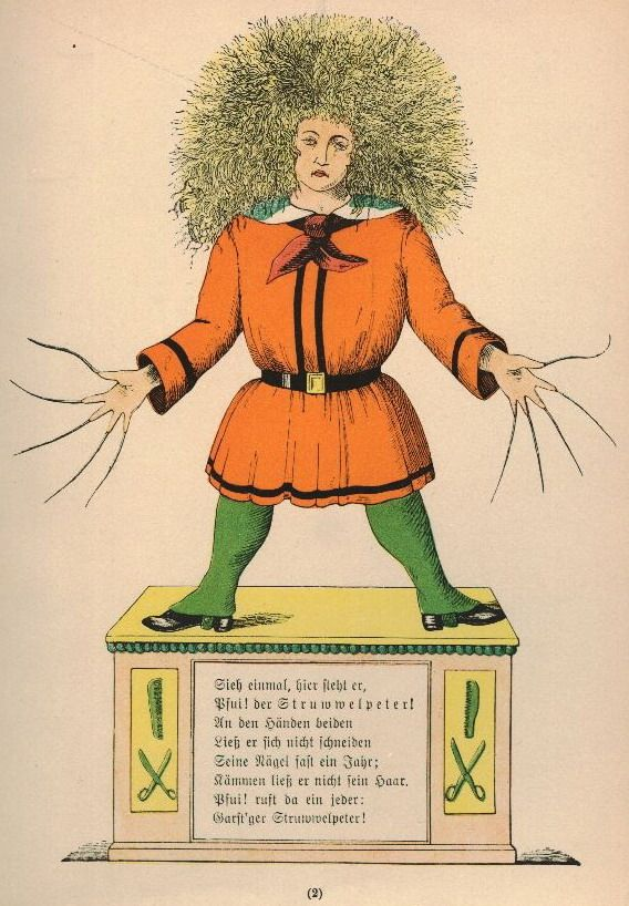 """""""Der Struwwelpeter (1845) (or Shockheaded Peter) is a German children's book by Heinrich Hoffmann. It comprises ten illustrated and rhymed stories, mostly about children. Each has a clear moral that demonstrates the disastrous consequences of misbehavior in an exaggerated way."""