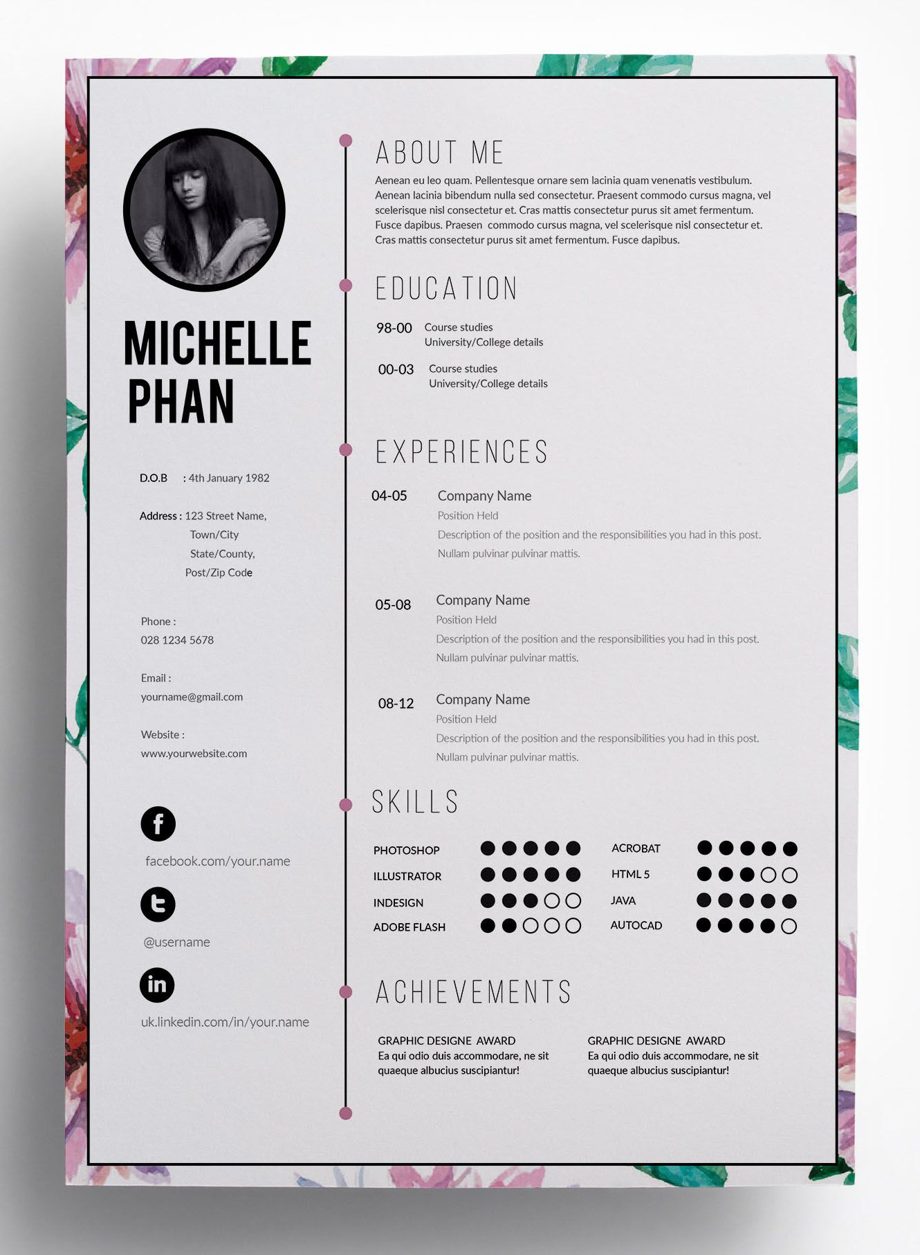 floral cv template creative floral border and bullets resume layout