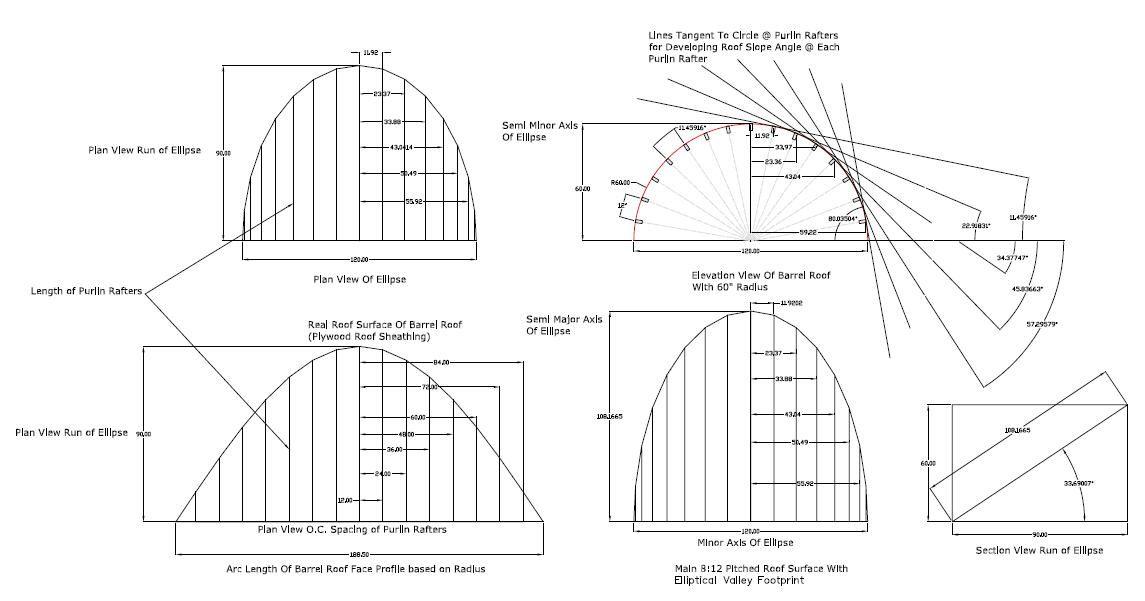 Barrel Roof - Rafter Framing Calculator   Architectural Details ...
