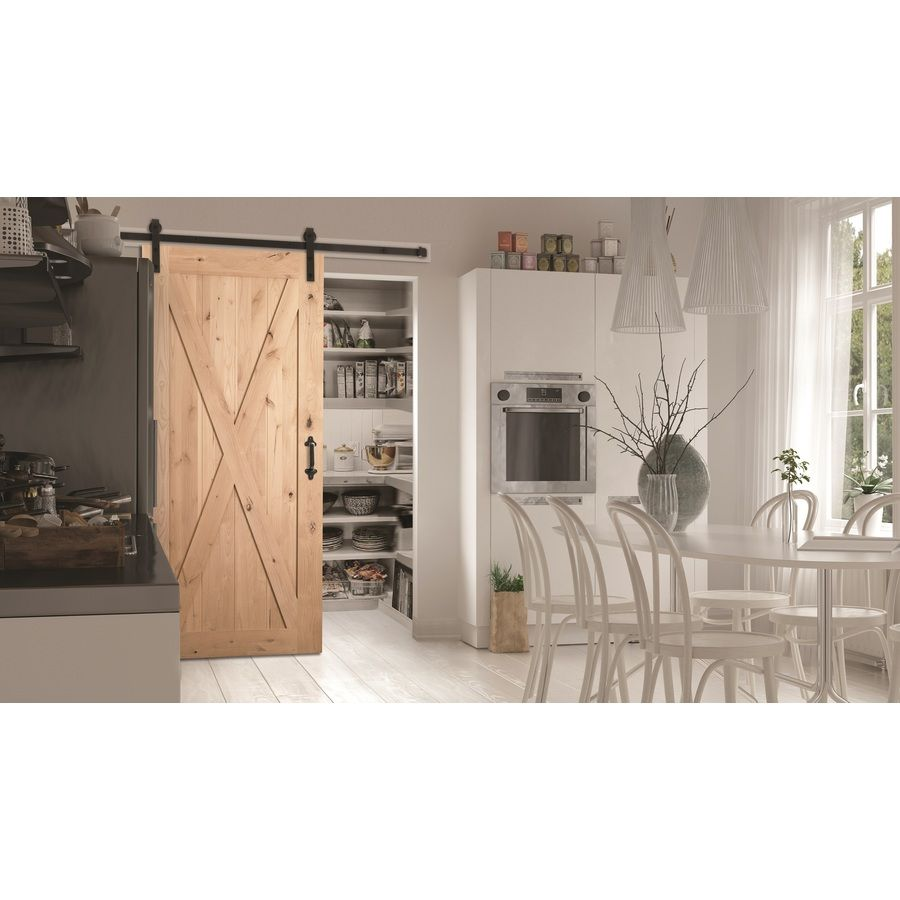 Shop Masonite Solid Core Crosshead Knotty Alder Barn Interior Door Common 36 In X 84 In