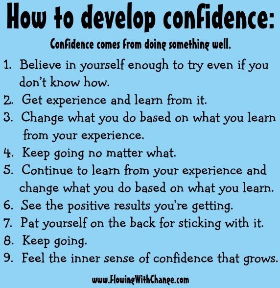How to develop confidence tips via