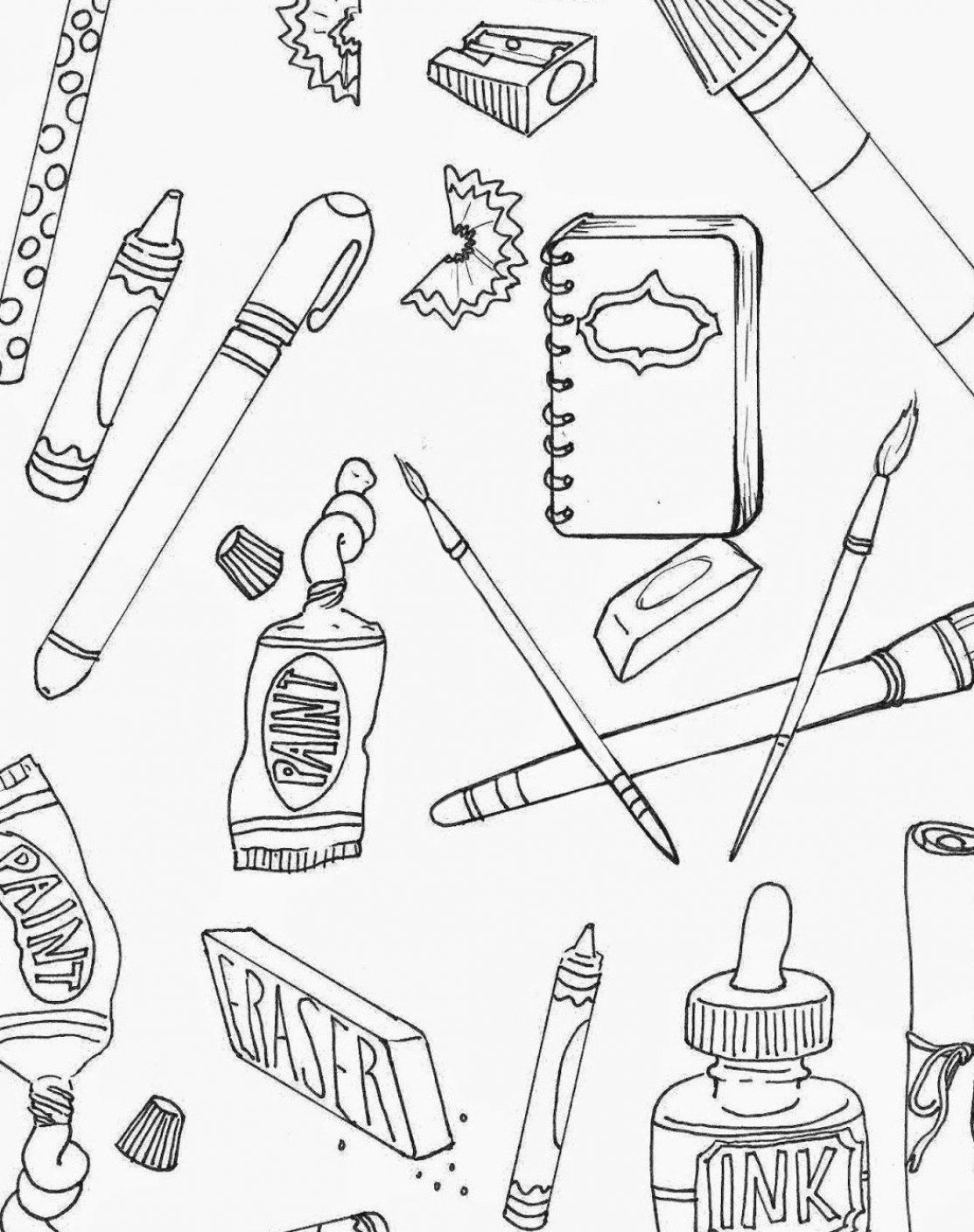 Art Supplies Coloring Pages Art Supplies Drawing Art Supplies Picture Picture Of Art Supplies Art Supplies Drawing Coloring Pages School Coloring Pages
