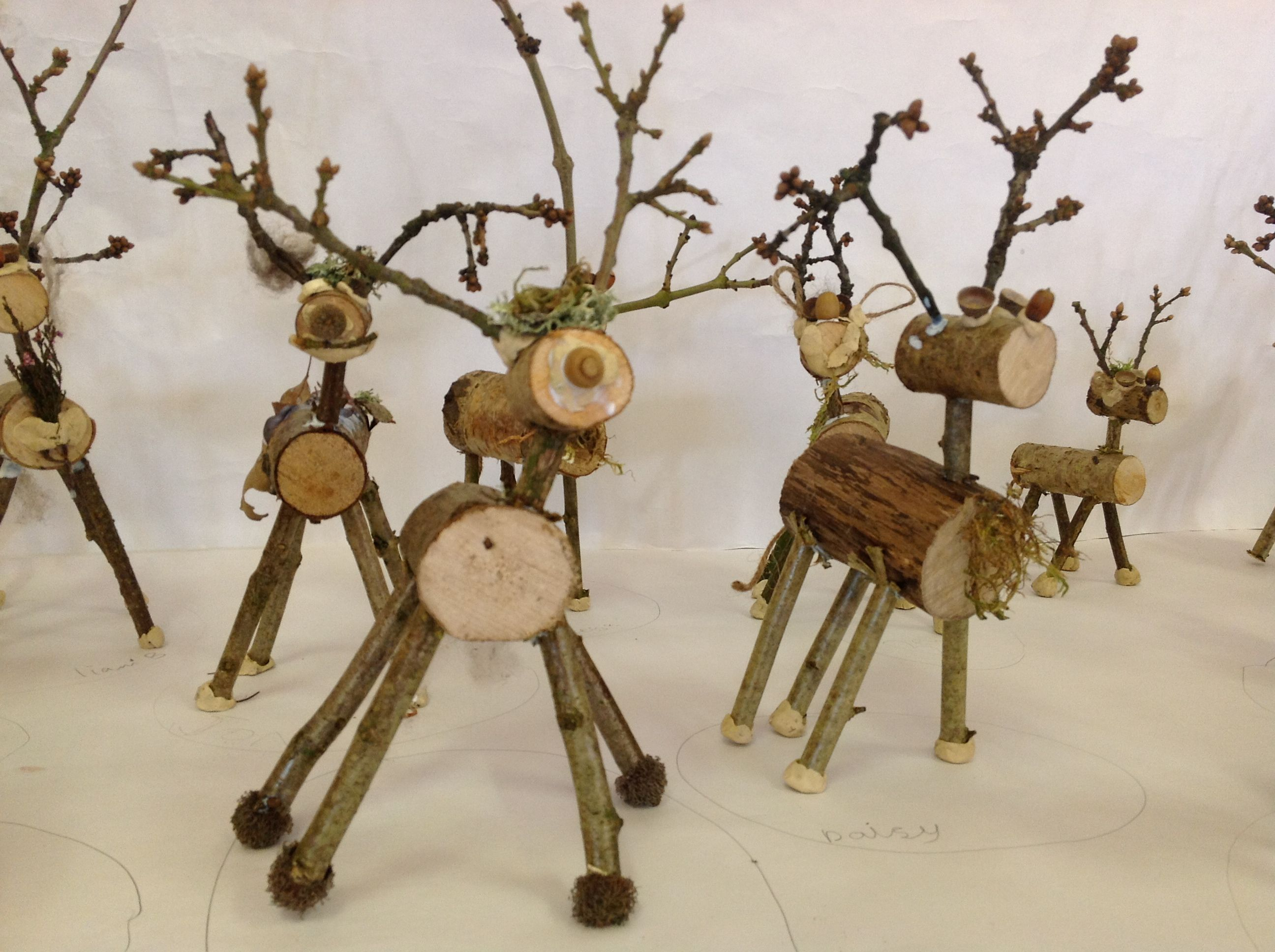 Stick reindeers made by children from natural materials at for Crafts made from nature