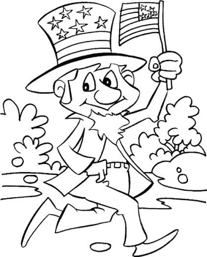 Uncle Sam Celebrating The Independence Day Coloring Pages