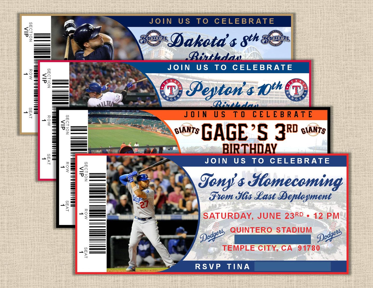 Any Mlb Team  X Or X  Baseball Ticket Invitation  Any