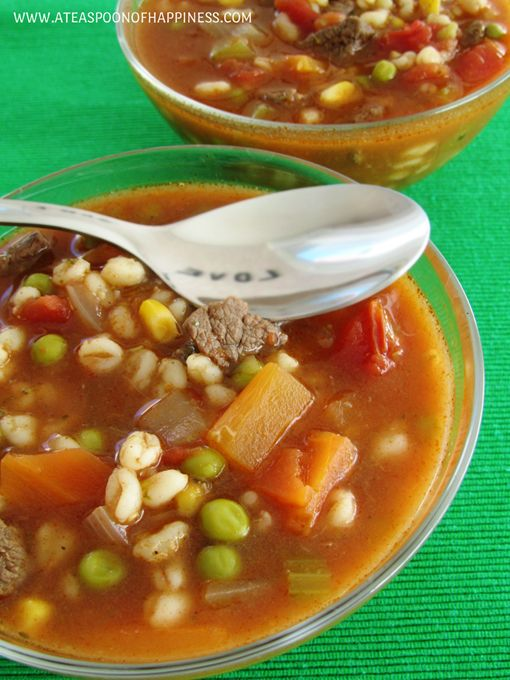 Vegetable Beef Barley Soup - A Teaspoon of Happiness