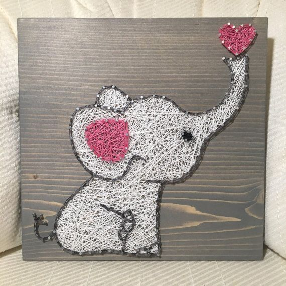 baby elephant string art sign nursery decor baby shower gift jungle animals baby girl baby. Black Bedroom Furniture Sets. Home Design Ideas