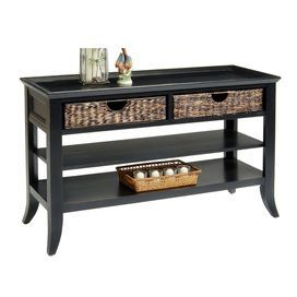 Console Table In Rubbed Black With Two Hand Woven Basket Drawers